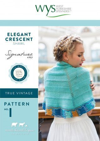 Elegant Crescent Shawl in West Yorkshire Spinners Signature 4 Ply Pattern