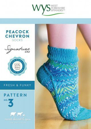 Peacock Chevron Socks in West Yorkshire Spinners Signature 4 Ply Pattern