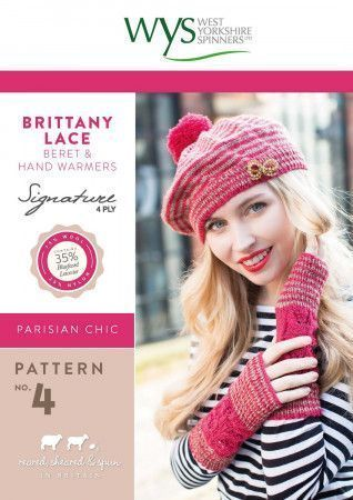 Brittany Lace Beret and Hand Warmers in West Yorkshire Spinners Signature 4 Ply Pattern
