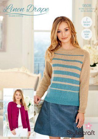 Sweater and Cardigan in Stylecraft Linen Drape DK (9508)