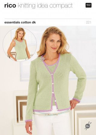 Cardigan and Vest in Rico Essentials Cotton DK (221)