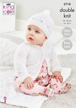 Cardigan, Hat and Blanket in King Cole Baby Glitz DK (5718)
