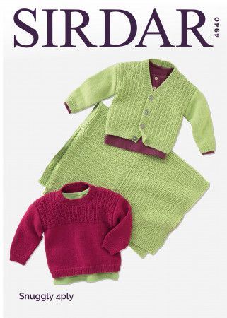 Sweater, Cardigan and Blanket in Sirdar Snuggly 4 Ply (4940)