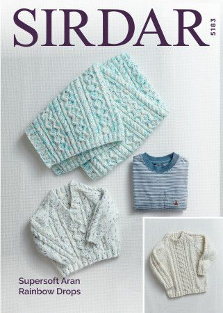 Sweaters and Blankets in Sirdar Supersoft Aran Rainbow Drops (5183)
