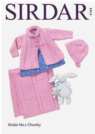 Baby Girl's Matinee Coat, Bonnet and Blanket in Sirdar No.1 Chunky (5188)