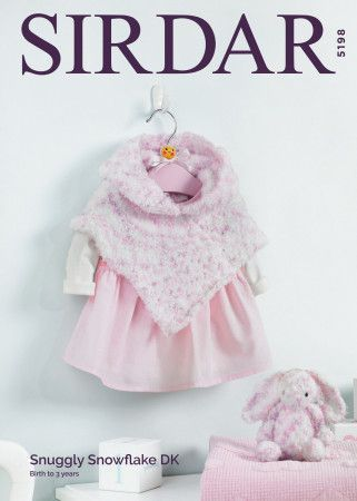 Poncho and Bunny Soft Toy in Sirdar Snuggly Snowflake DK (5198)