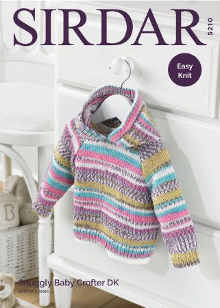 Hooded Sweater in Sirdar Snuggly Baby Crofter DK (5210)