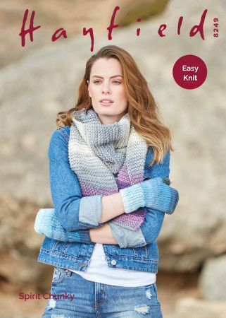 Woman's Wrist Warmers and Scarf In Hayfield Spirit Chunky (8249)