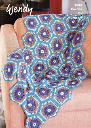 Hexagon Flower Blanket in Wendy Love It DK (6041)