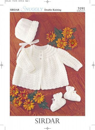 Matinee Coat, Bonnet and Bootees in Sirdar Snuggly DK (3191)