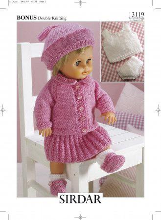 Doll's Outfit in Hayfield Baby Bonus DK (3119)