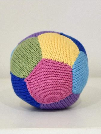 Simple knitted ball toy in multi colours knitting pattern