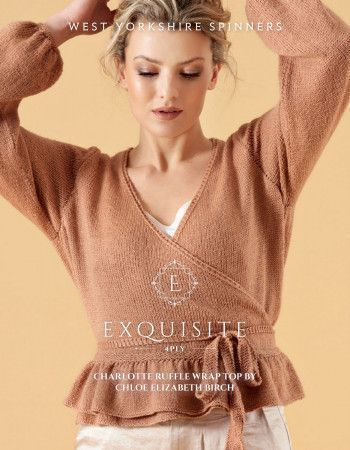 Charlotte Ruffle Wrap Top in West Yorkshire Spinners Exquisite 4 Ply Pattern