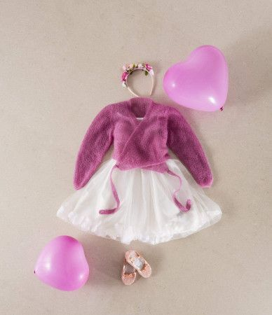 girls pink knitted ballet cardigan in mohair yarn
