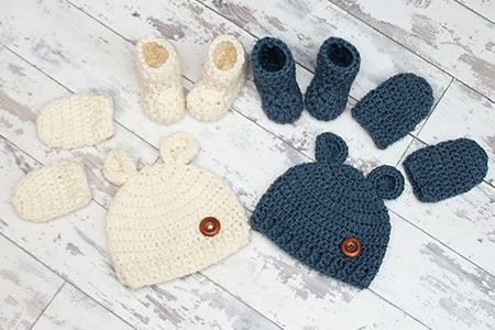 New Born Baby Bear Crochet Set in Cygnet Aran (CY1250)