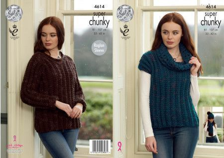 Sweater, Pullover, Hat and Scarf in King Cole Big Value Super Chunky Twist (4614)