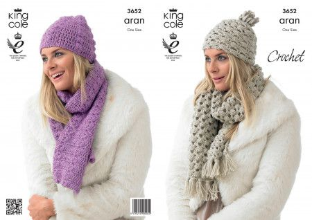 Hats and Scarves in King Cole Fashion Aran (3652)