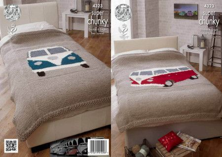 Camper Van Bed Throws in King Cole Big Value Super Chunky (4323)