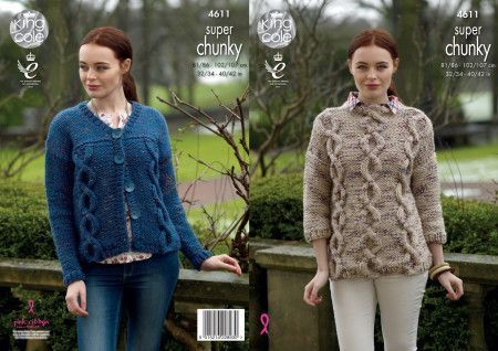 Sweater and Cardigan in King Cole Big Value Super Chunky Twist (4611)