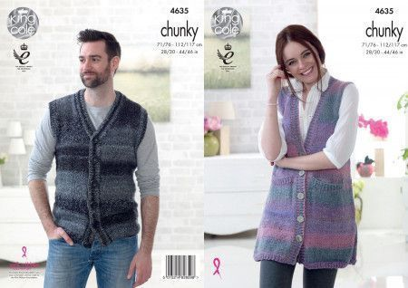 Lady's and Man's Waistcoats in King Cole Cotswold Chunky (4635)
