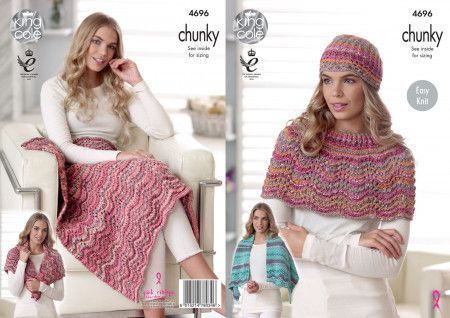 Blanket, Shawl, Shoulder Wrap and Hat in King Cole Drifter Chunky (4696)