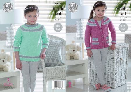 Longline Sweater and Cardigan in King Cole Glitz DK (4952)