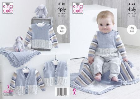 Sweater, V Neck Cardigan, Waistcoat and Blanket in King Cole Big Value Baby 4 Ply (5136)