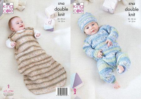 Onesie, Sleeping Bag and Hat in King Cole Baby Splash DK (5762)