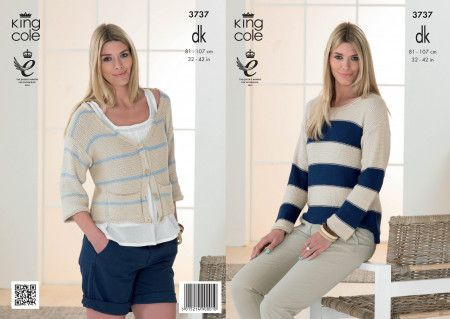 Sweater and Cardigan in King Cole Cottonsoft DK (3737)