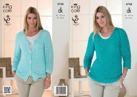 Sweater and Cardigan in King Cole Cottonsoft DK (3738)