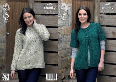 Cardigan and Sweater in King Cole Chunky Tweed (4038)