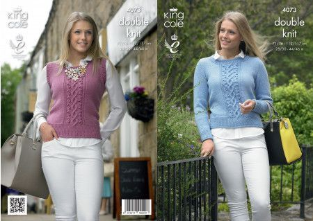 Sweater and Slipover in King Cole Merino Blend DK (4073)