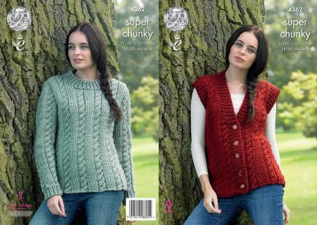 Sweater and Waistcoat in King Cole Big Value Super Chunky (4362)