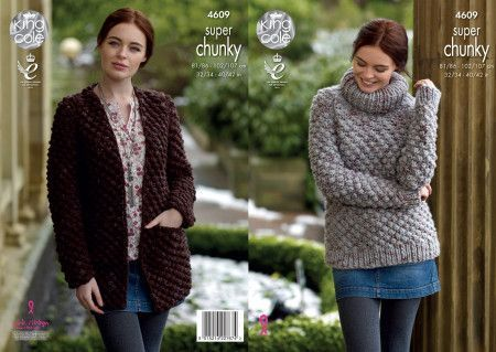 Sweater and 'Coatigan' in King Cole Big Value Super Chunky Twist (4609)