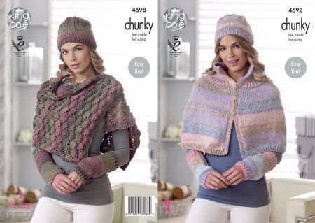 Cape, Shoulder Wrap, Hat and Wrist Warmers in King Cole Cotswold Chunky (4698)