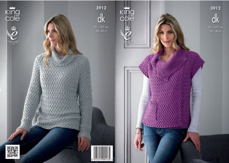 Sweater and Gilet in King Cole Bamboo Cotton DK (3912)