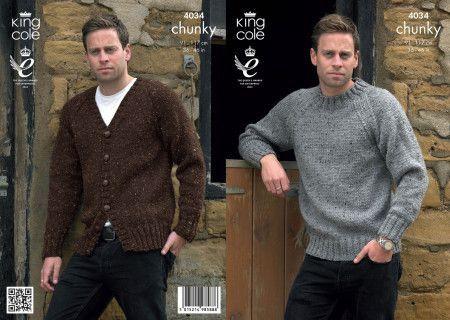 Sweater and Cardigan in King Cole Chunky Tweed (4034)