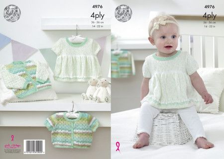 Dress and Cardigan in King Cole Big Value Baby 4 Ply (4976)