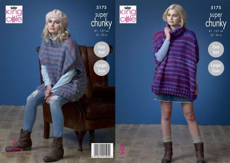 Ladies Ponchos in King Cole Orbit Super Chunky (5175)