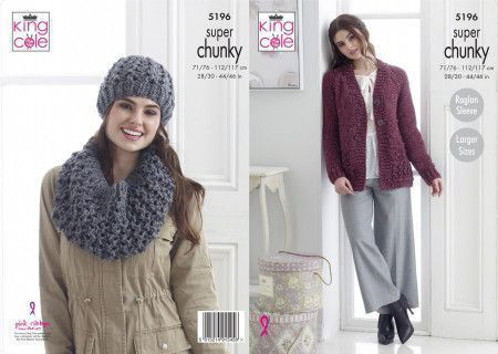 Jacket, Hat and Cowl in King Cole Big Value Super Chunky Stormy (5196)