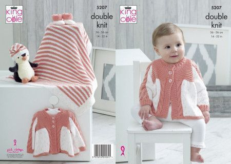 Matinee Coat, Blanket, Hat and Bootees in King Cole Cottonsoft DK and Cottonsoft Candy DK (5207)