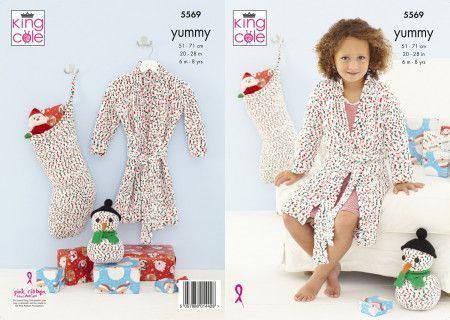 Dressing Gown, Snowman and Stocking in King Cole Yummy (5569)