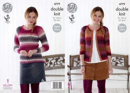 Sweater and Cardigan in King Cole Riot DK (4779)