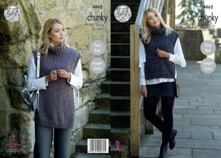 Ladies' Tabards in King Cole Indulge Chunky (4862)