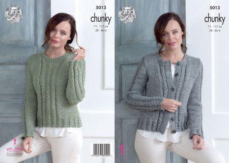 Cardigan and Sweater in King Cole Chunky Tweed (5013)