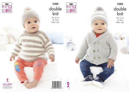Jacket , Sweater and Hats in King Cole Cotton Top DK (5488)