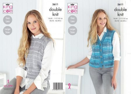 Waistcoat and Slipover in King Cole Island Beaches DK (5611)
