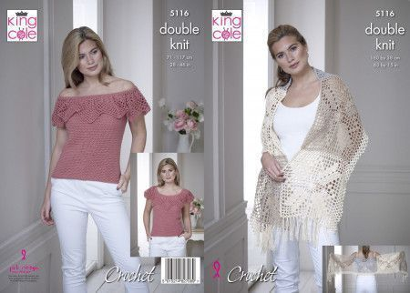 Wrap and Top in King Cole Finesse Cotton Silk DK (5116)
