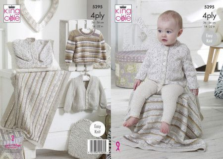 Cardigans, Sweaters and Blanket in King Cole Big Value Baby 4 Ply (5295)