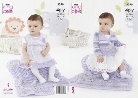 Cardigan, Pinafore Dress and Blanket in King Cole Big Value Baby 4 Ply (5390)